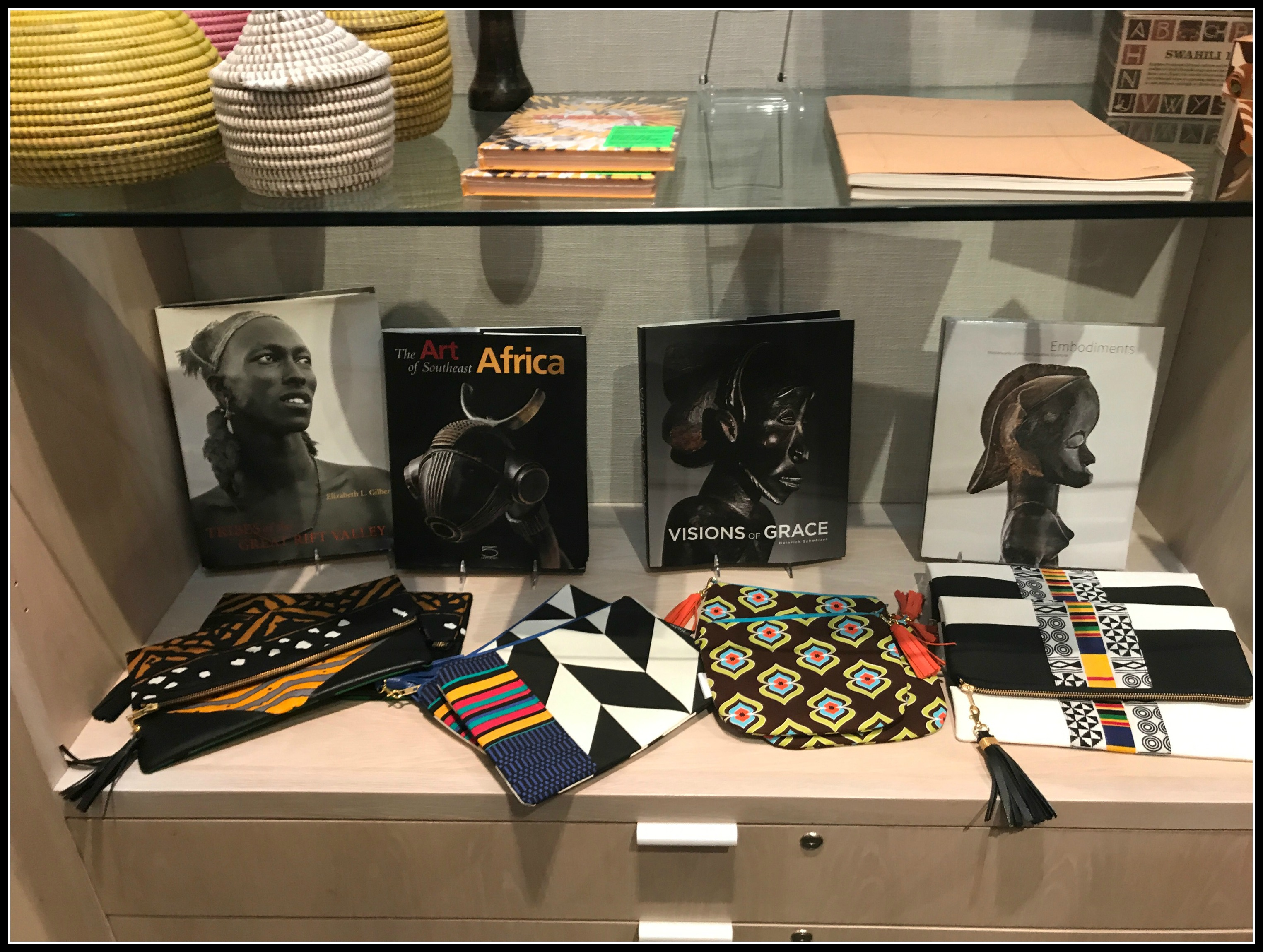 Brooklyn Museum Boostore; African-inspired fold-over clutches and pouches