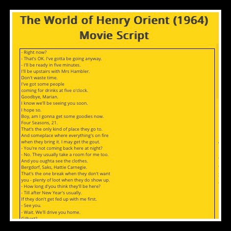 The World of Henry Orient Script; Hattie Carnegie