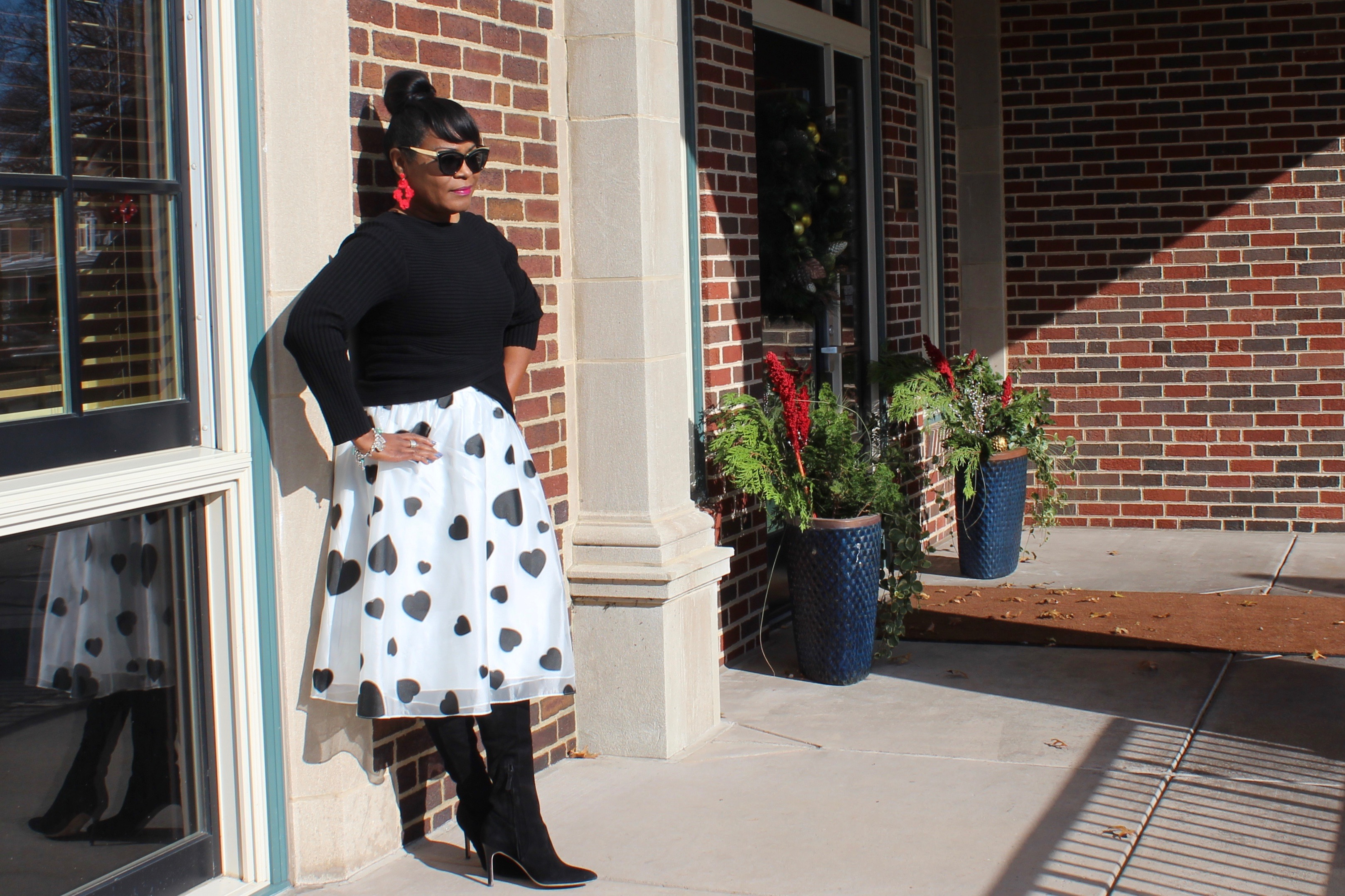 Holiday Fashions; The Lee Family; J. Crew Organza Skirt in Heart Print